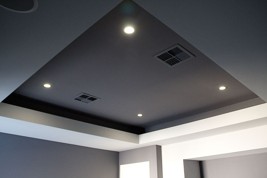featured ceiling in sunken lounge