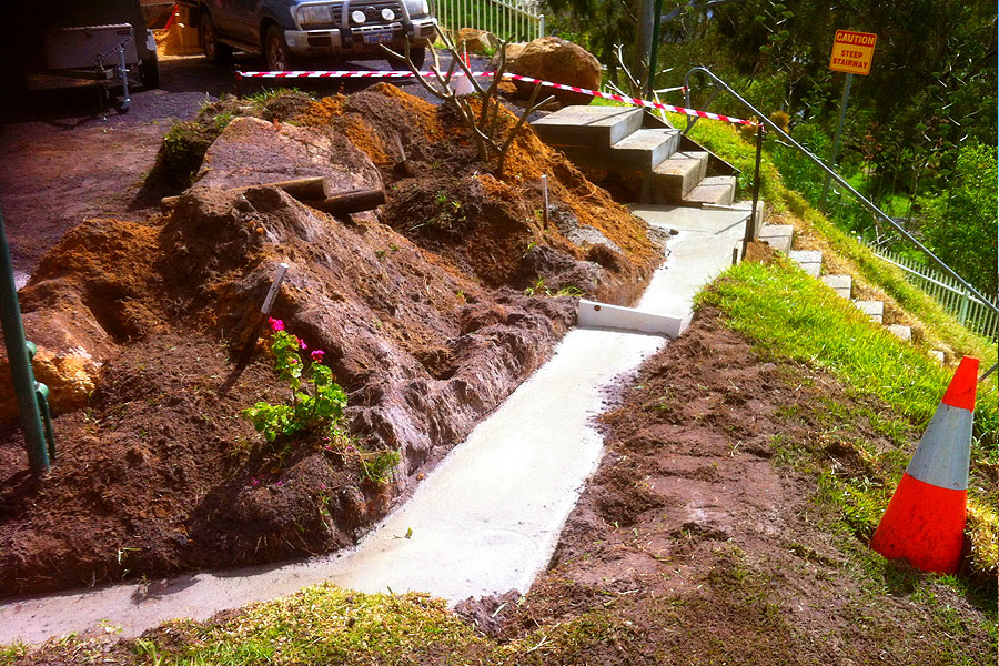 building earthworks with landscaping