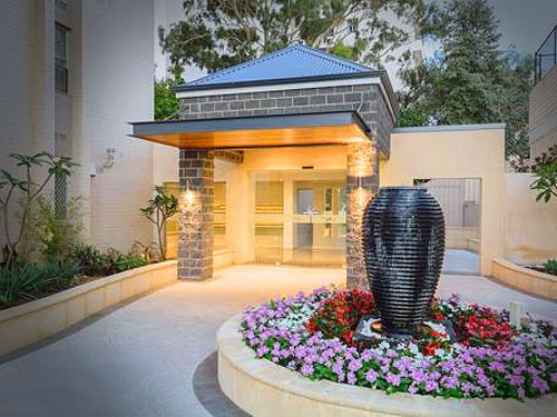foyer entrance with water feature
