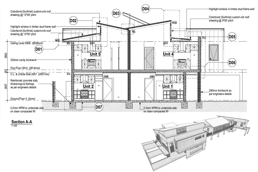 Plan for several townhouse units -including drawing (inset)