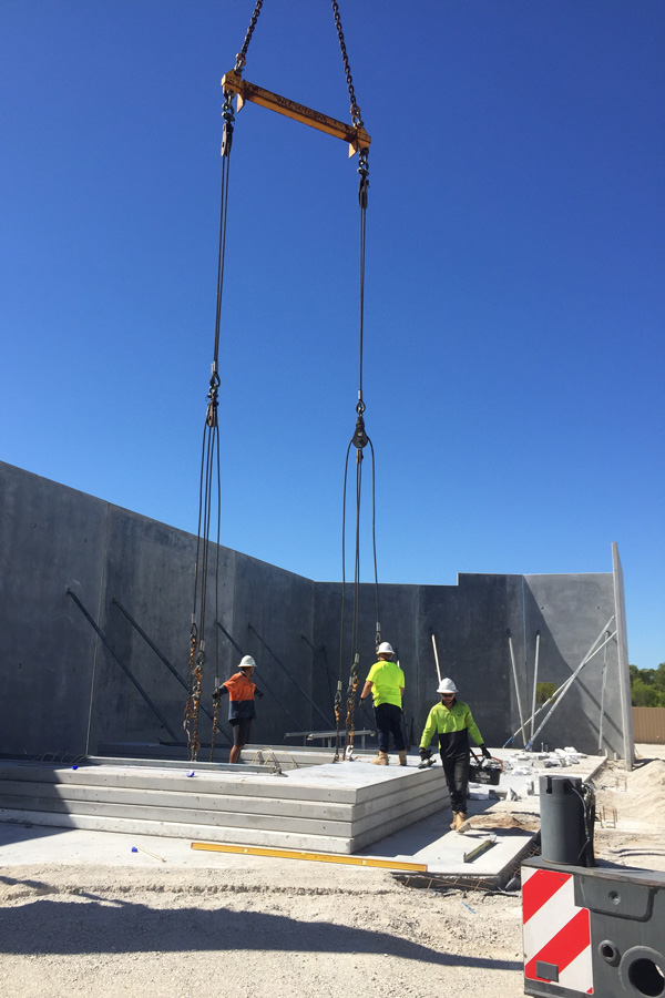 lifting concrete slabs with crane
