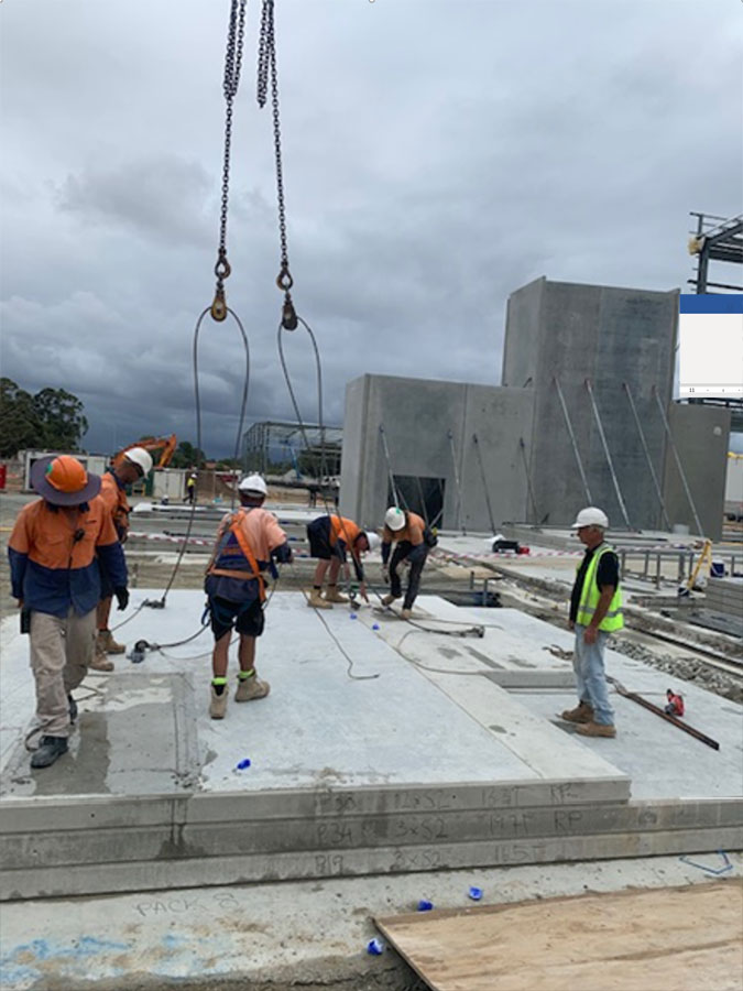 builders working on tilt-panels